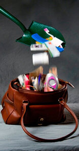 Products falling into an open purse