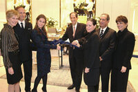 From left, John Demsey; Thia Breen; Aerin Lauder; Michael Gould; Joanne Glennerster, Estée Lauder counter manager; Howard Kreitzman, vice president, cosmetics and fragrances, Bloomingdale's; and Franc