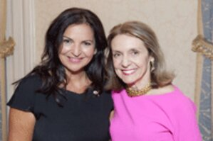 Veronique Gabai-Pinsky, global brand president of The Estée Lauder Companies' Aramis and Designer Fragrances division, left, with Carlotta Jacobson, president of CEW
