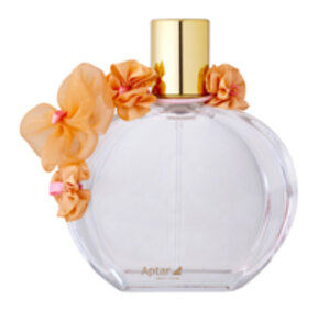 Fragrance bottle with gold cap and decorated with orange flowers