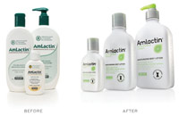 Before and after photos for a packaging redesign for AmLactin products