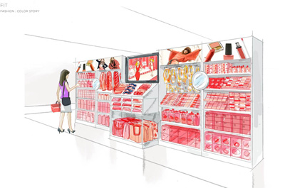 "Mock up of a ""color story"" retail display aisle"