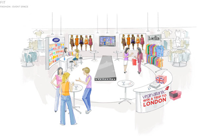 Mock up of fashion event space in a retail environment