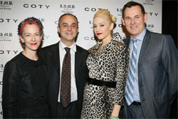 From left, Catherine Walsh senior vice president, American Fragrances, Coty Prestige Worldwide; Michele Scannavani, president, Coty Prestige Worldwide; Gwen Stefani; and Bernd Beetz, CEO, Coty Inc.
