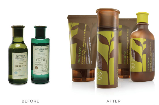 Before and after packaging redesign for Innisfree products