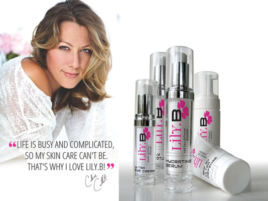 Lily.B brand celebrity spokesperson and singer Colbie Calliat and Lily.B Skincare products