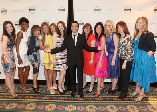 Mario Cantone, CEW Beauty Awards host, with bloggers who presented this year's awards