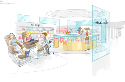 A mock up of a Swellsville retail space's wellness center