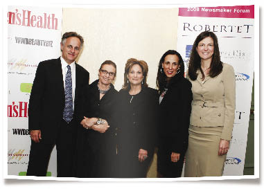 From left, Christophe Maubert, Robertet Fragrances; Carlotta Jacobson, CEW; Susan Arnold, P&G;