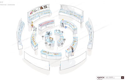 Mock up overview of a prestige retail space
