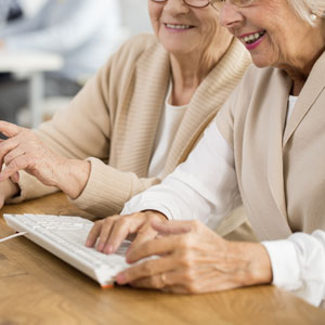 Elder women on a computer