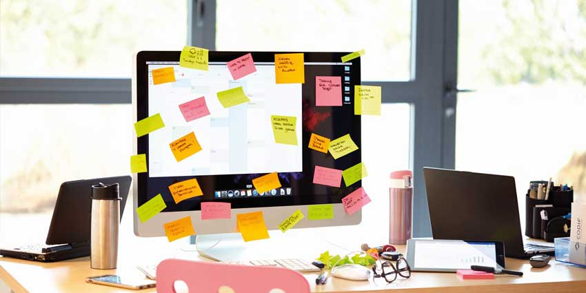 Post-its covering computer