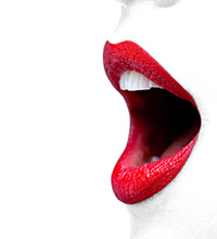 Open mouth with lips that are wearing very red lipstick