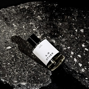 A perfume bottle on black background